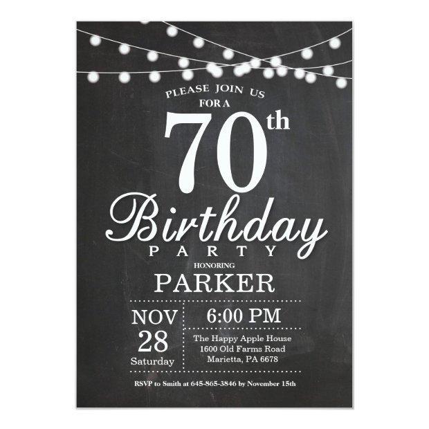 70th Birthday  Chalkboard String Lights