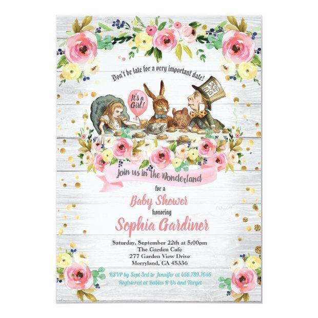Alice In Wonderland Baby Girl Shower Invitation