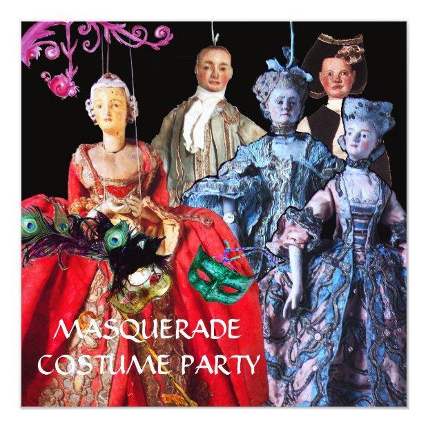 Antique Italian Puppets Masquerade Costume Party Invitation