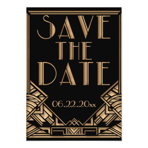 Art Deco Gatsby Style Wedding Save The Date Invitation