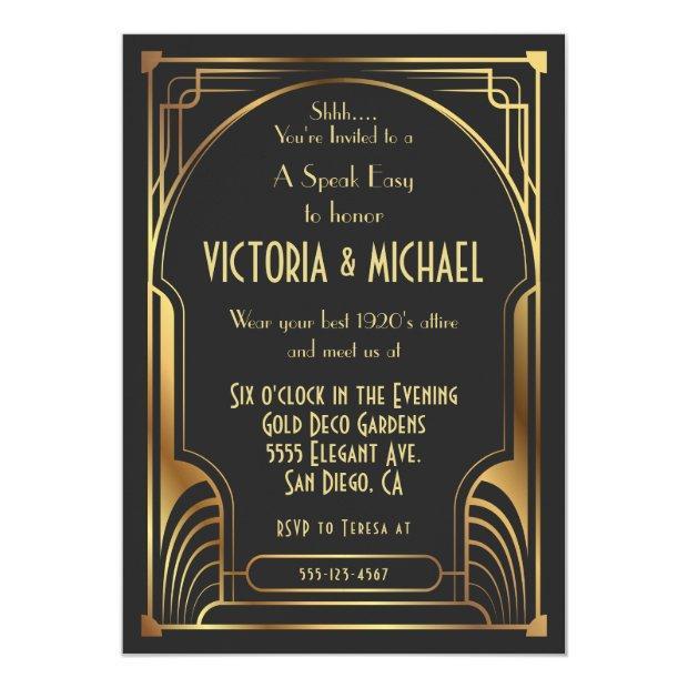 Art Deco Nouveau Speak Easy Party Gold & Black Invitation