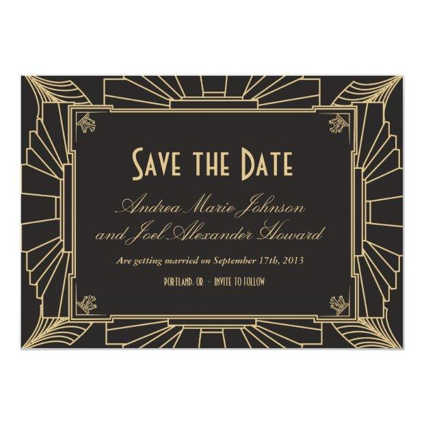 Art Deco Save The Date By Origami Prints Invitations