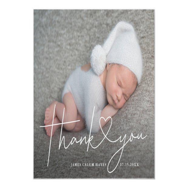 Baby Photo Thank You Script Heart Birth Announcement Postinvitations