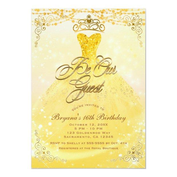Be Our Guest Princess Yellow & Gold Sweet 16 Party Invitations