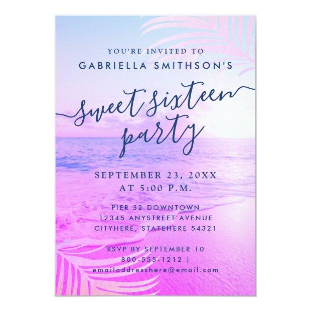 Beach Pink Filter Tropical Summer 16th Birthday Invitation