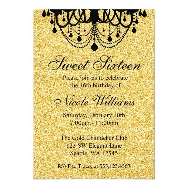 Black And Gold Chandelier Sweet 16 Birthday Invitations