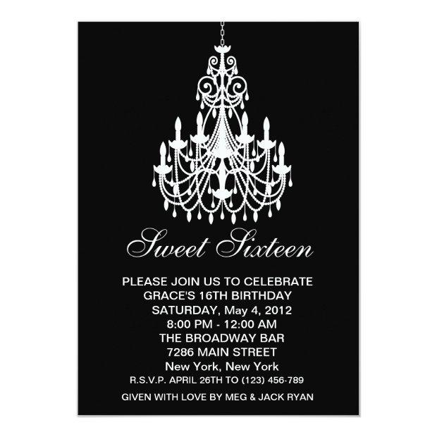 Black And White Chandelier Sweet Sixteen Birthday Invitations