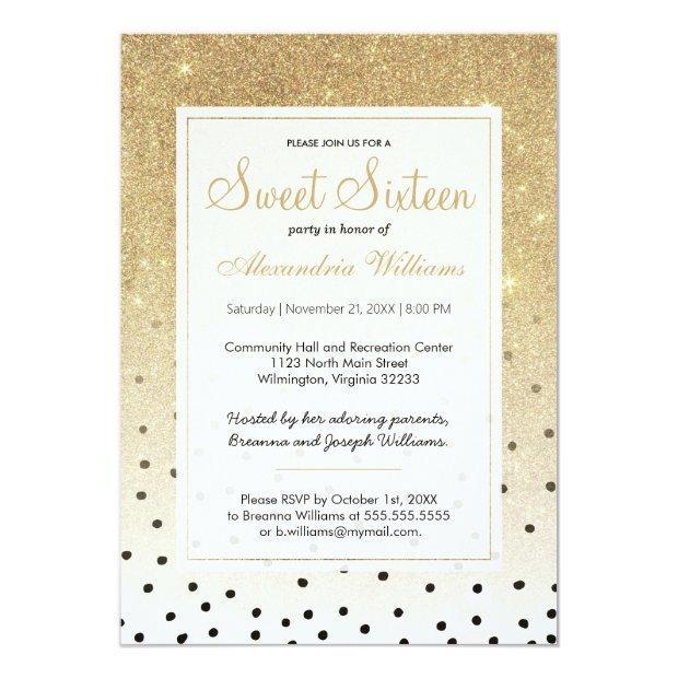Black Polka Dots Faux Gold Ombre Glitter Sweet 16 Invitations