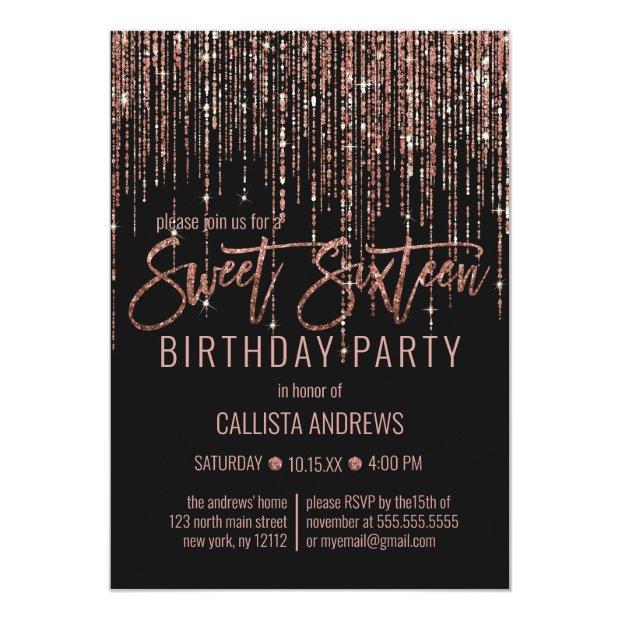 Black Rose Gold Glitter Fringe Curtain Sweet 16 Invitation