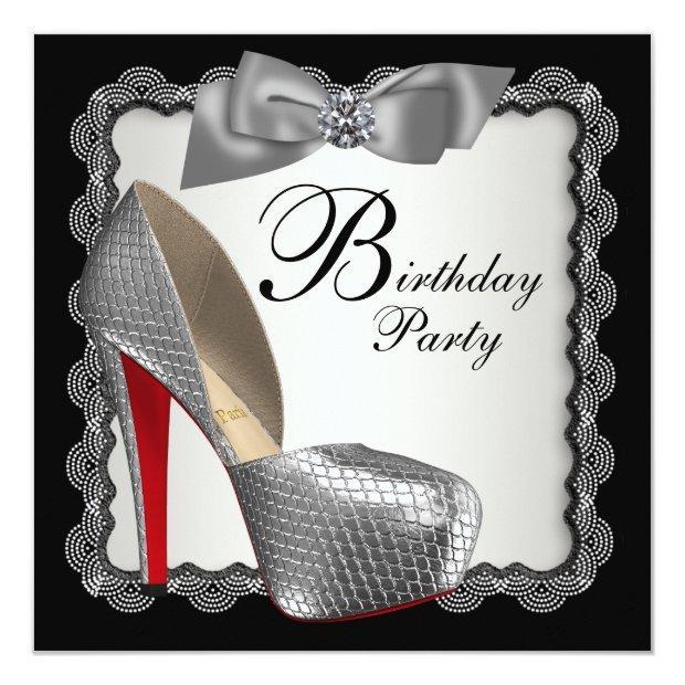 Black & Silver High Heel Shoe Birthday Party Invitations