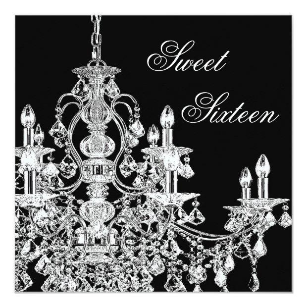 Black White Chandelier Sweet 16 Party Invitations