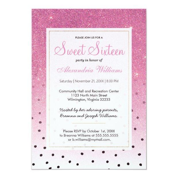 Black White Polka Dots Pink Ombre Glitter Sweet 16 Invitations