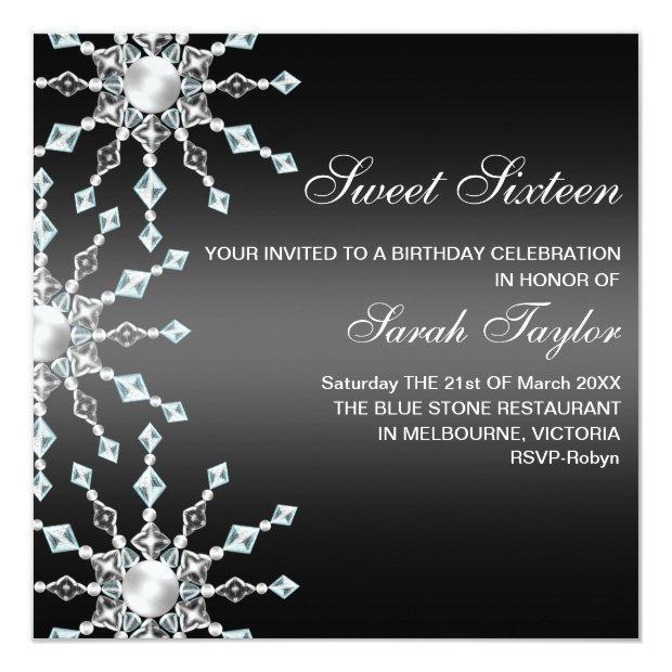 Black & White Shimmer Snowflake Birthday Invite
