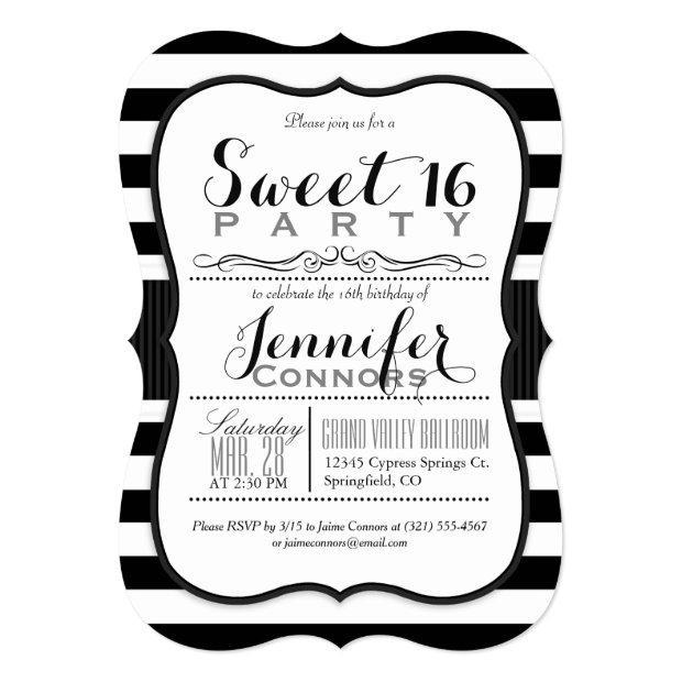 Black & White Stripes Sweet 16 Party Invitations