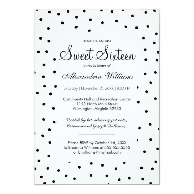 Black White Watercolor Polka Dots Sweet Sixteen Invitations