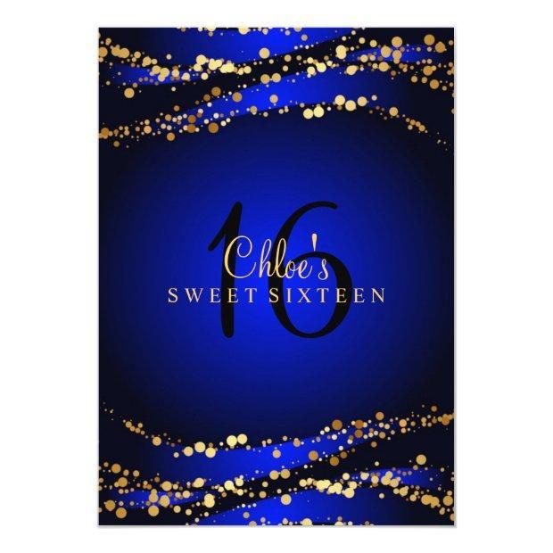 Blue & Gold Stardust Sweet 16 Invitations