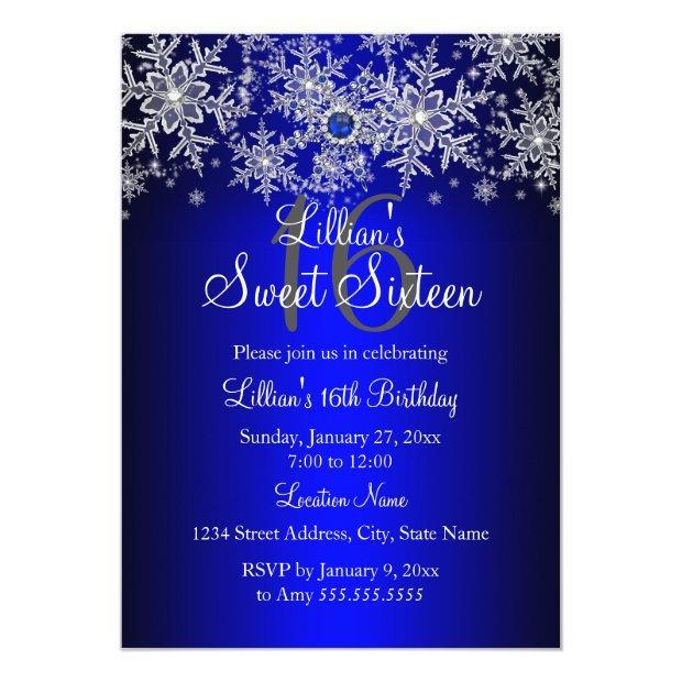 Blue Pearl Silver Snowflake Sweet 16 Invitations