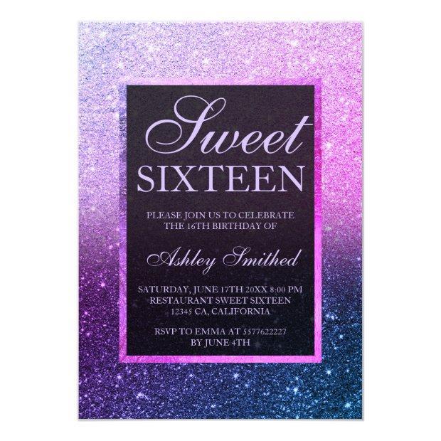Blue Purple Ombre Glitter Elegant Chic Sweet 16 Invitation