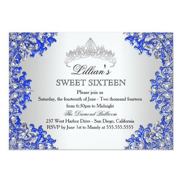 Blue Silver Damask Tiara Sweet 16 Invitation