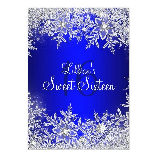 Blue Sweet 16 Snowflake Winter Wonderland Invitations
