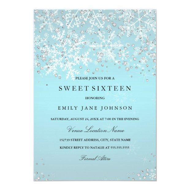 Blue Sweet Sixteen Winter Wonderland Snowflakes Invitations