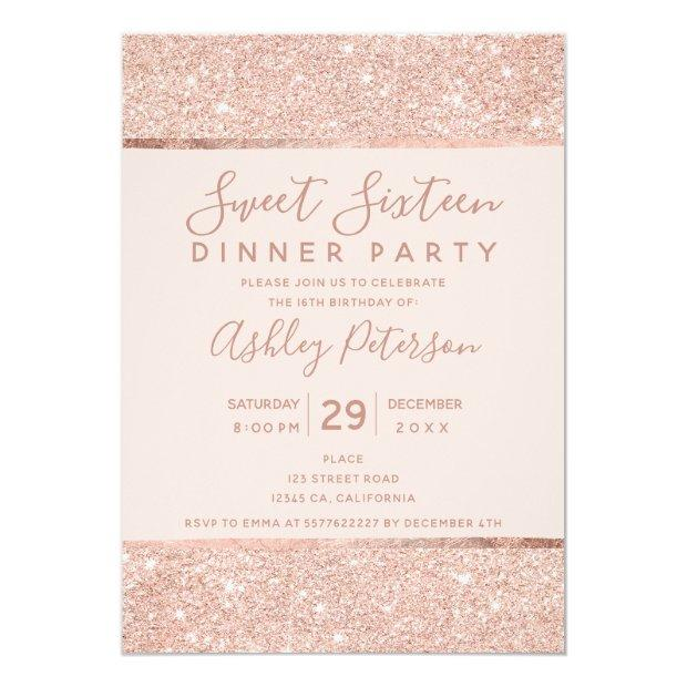 Blush Rose Gold Glitter Typography Sweet Sixteen Invitation