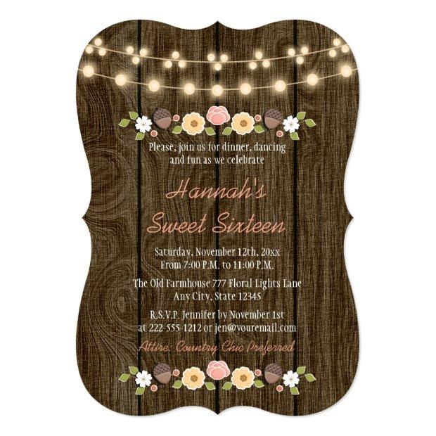 Blush String Of Lights Rustic Sweet 16 Invitations