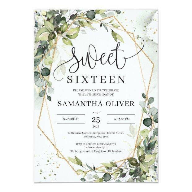 Boho Greenery Leaves Gold Geometric Sweet Sixteen Invitation