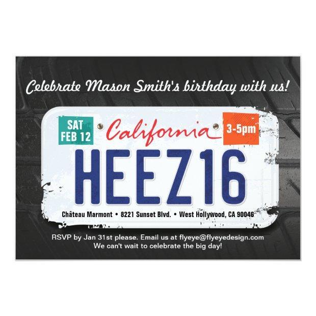 Boy's 16th Birthday California License Invitation