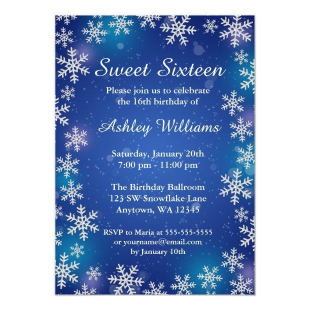 Bright Snowflakes Blue Winter Wonderland Sweet 16 Invitations