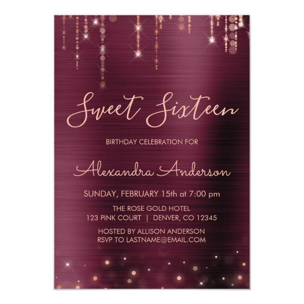 Burgundy And Rose Gold Sweet Sixteen Birthday Invitation