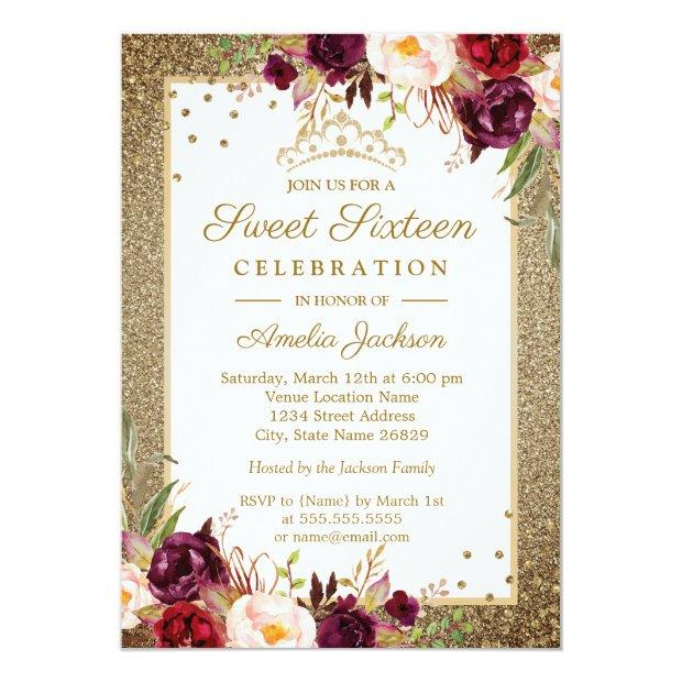 Burgundy Gold Floral Sparkle Sweet Sixteen Invitations
