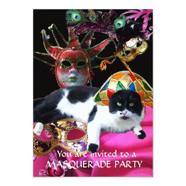 Cat With Harlequin Hat And Masquerade Party Masks Invitation
