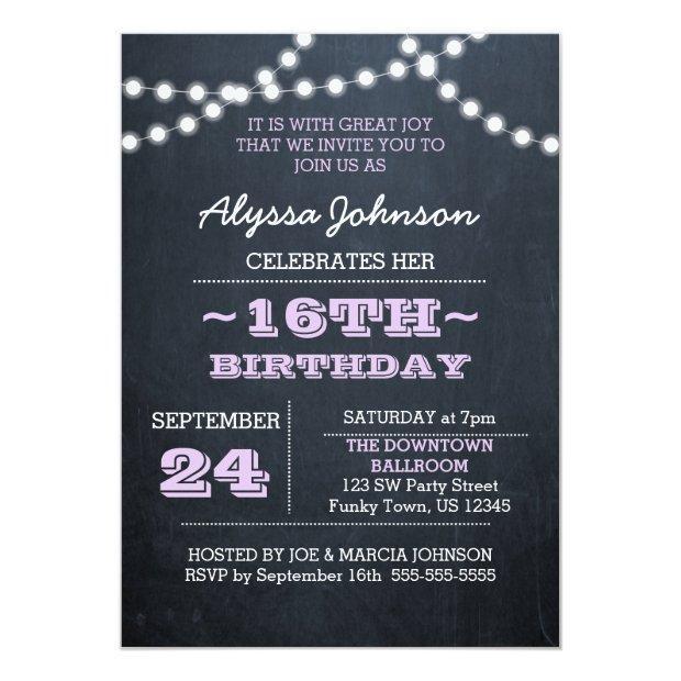 Chalk Lights Lavender 16th Birthday Sm Invitation