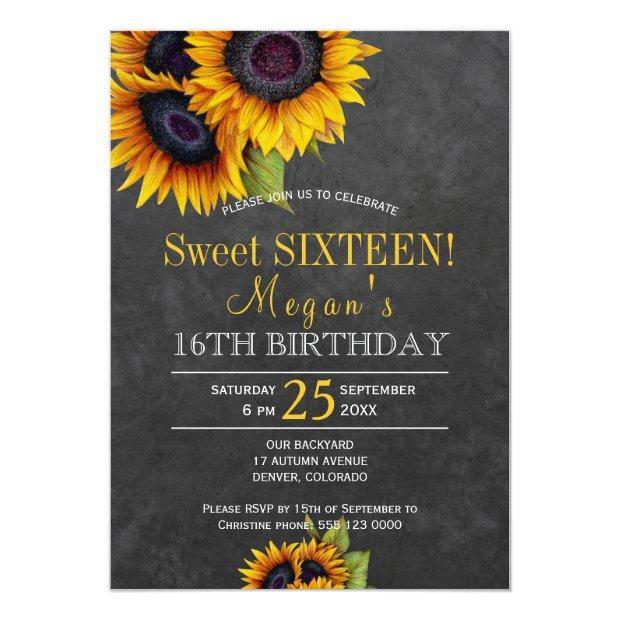 Chalkboard Sunflowers Chic Rustic Sweet Sixteen Invitations