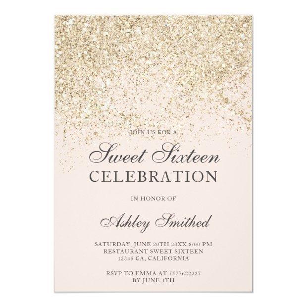 Champagne Glitter Sparkles Blush Sweet Sixteen Invitation