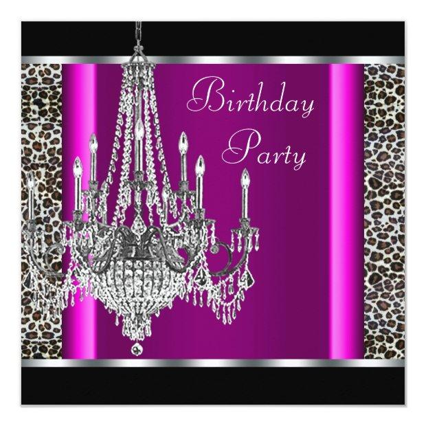 Chandelier Hot Pink Leopard Birthday Party Invitations