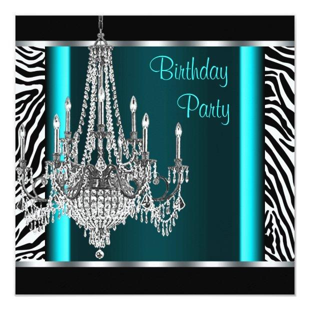 Chandelier Teal Blue Zebra Birthday Party Invitations