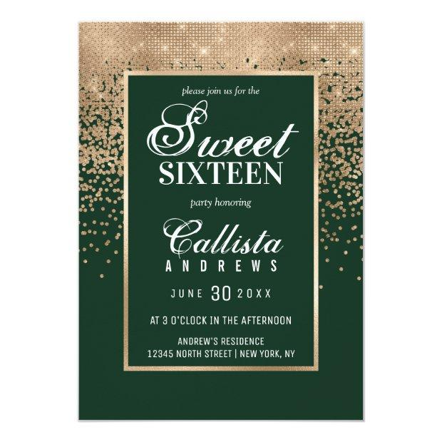 Chic Forest Green Gold Glitter Confetti Sweet 16 Invitation