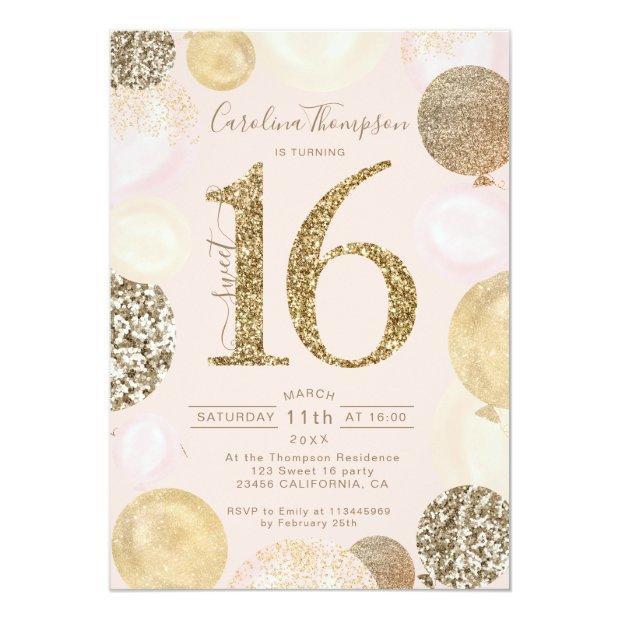 Chic Gold Glitter Blush Balloon Sweet 16 Photo Invitation
