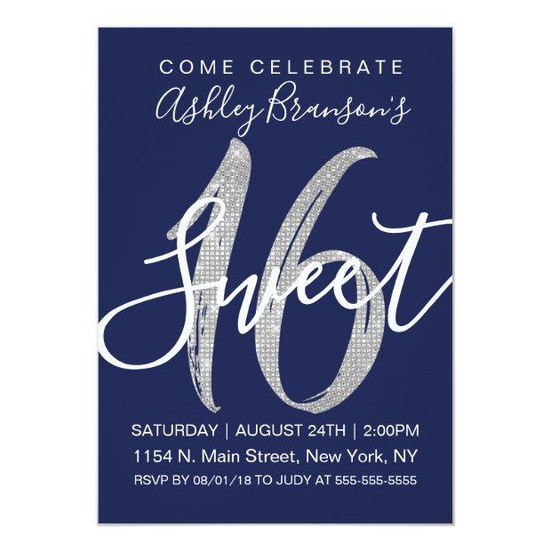 Chic Navy Blue Faux Silver Sequin Glitter Sweet 16 Invitation