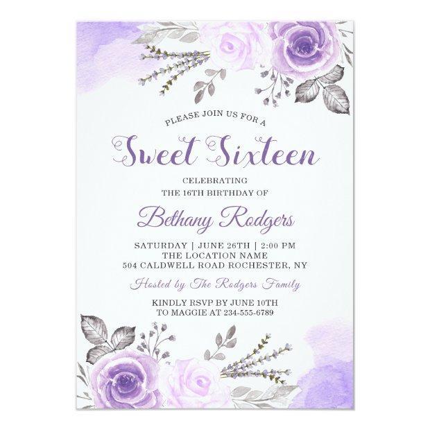 Chic Pastel Purple Rose Garden Sweet 16 Birthday Invitation