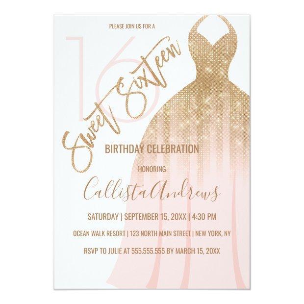 Chic Pink Gold Glitter Princess Dress Sweet 16 Invitation