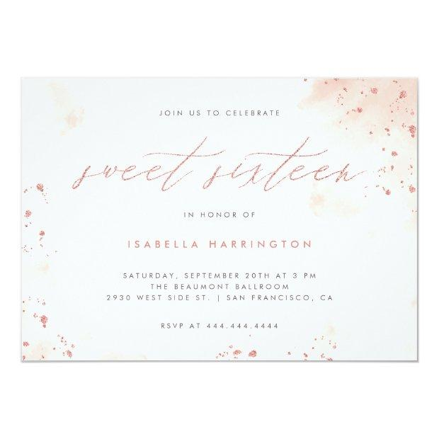 Chic Rose Gold Glitter Blush Pink Ombre Sweet 16 Invitation