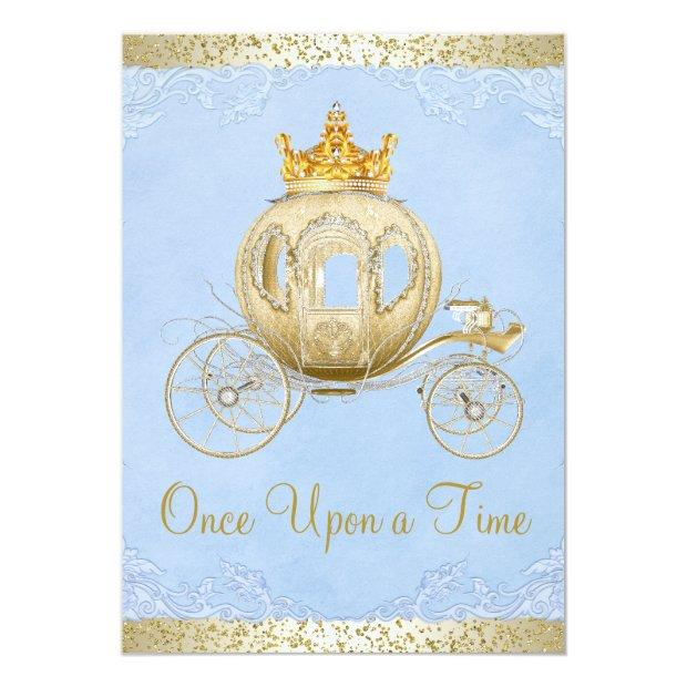Cinderella Blue Once Upon A Time Princess Birthday Invitations