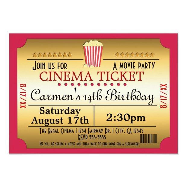 Cinema Movie Ticket Popcorn Party Event Invitation