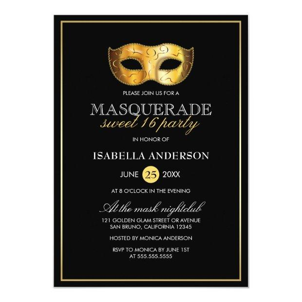 Classy Gold & Black Masquerade Sweet 16 Party Invitations