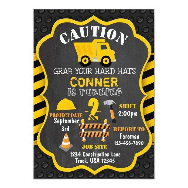 Construction Birthday Invitations | Dump Truck