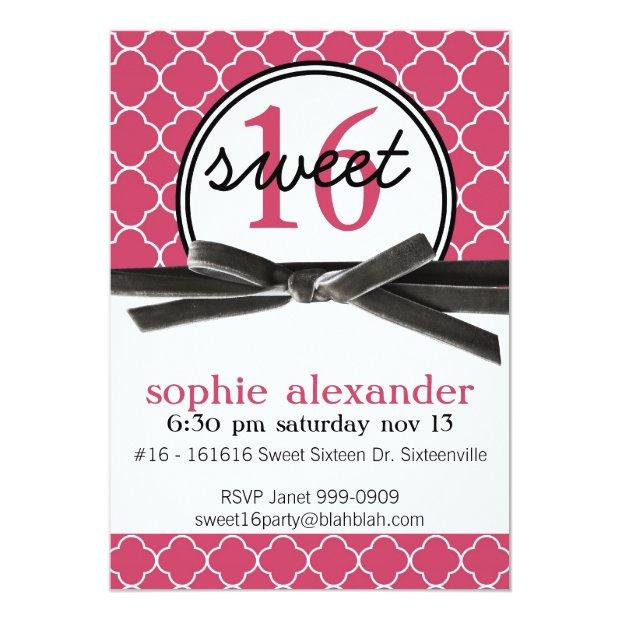 Cute Hot Pink Sweet 16 Party Invitations