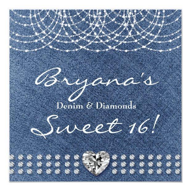Denim & Diamonds Bling Heart Sweet 16 Party Invitations